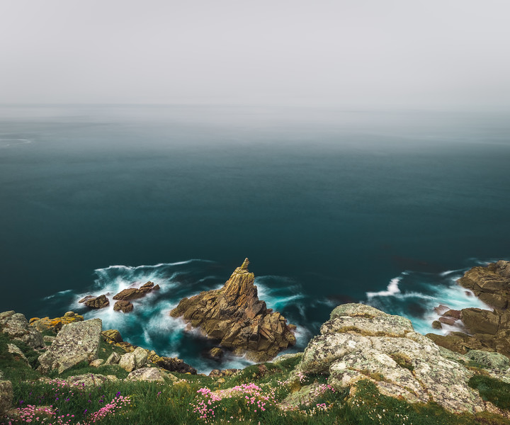 Misty Morning at Mayon Cliff - Land's End, Cornwall