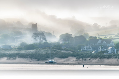 UK Weather: Low lying mist along the coast, Instow, North Devon.