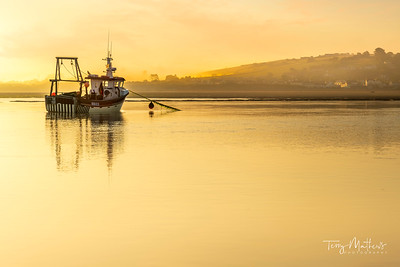 UK Weather - The early morning clouds give way to mist as the sun starts to rise over the River Torridge in North Devon