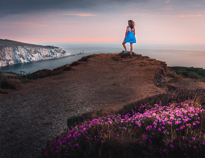 Queen of the hill! - The Needles, Isle of Wight