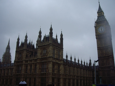 Palace of Westminster and the clock tower that holds Big Ben.