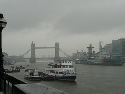 The Tower Bridge and HMS Belfast.