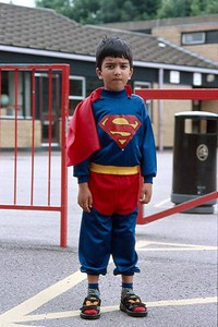 The Super Boy in front of his primary school (UK).