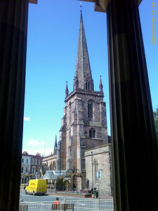 Hereford: A view of a church in the city centre, taken from the Hereford Crown Court. Photo was taken from a mobile camera!