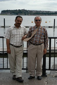 Drs Mehrab and Tawab - the two Khans - at Cradiff Bay, Wales, UK. (10.08.05).