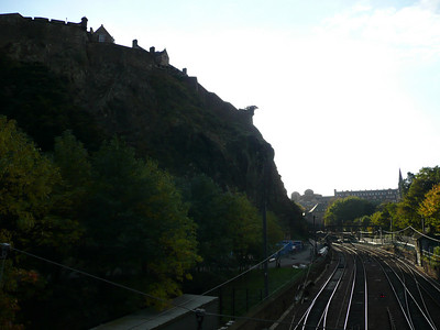 The northern walls of the Castle, and the train line heading west