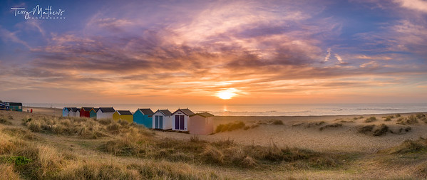 Southwold Beach Huts at Dawn