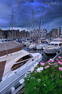 Ipswich Marina at twilight