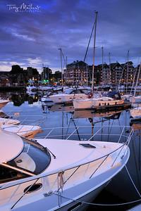 Ipswich Marina at twilight