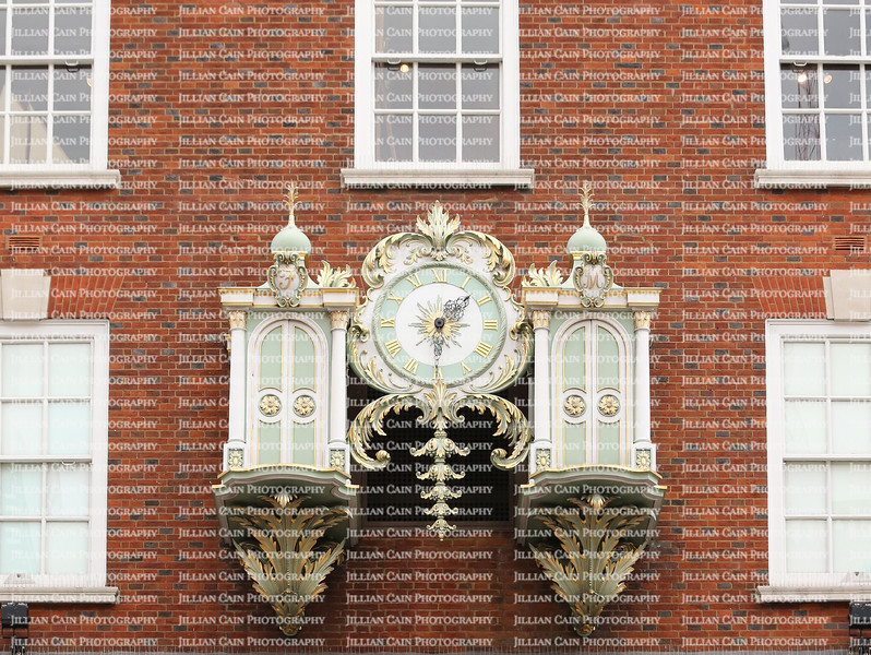 Fortnum & Mason Department store's mechanical clock in the closed position.  Fortnum & Mason has been in the same location for over 300 years.