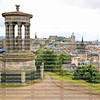 Scenic overview of Edinburgh, Scotland as seen from above Dugald Stewart's Monument located on Calton Hill , Edinburgh, Scotland.