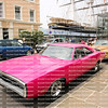 Hot pink Charger on display in front of the Cutty Sark clipper ship in Greenwich.