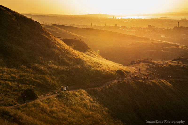 Beautiful sunset on top of Arthur's Seat at Edinburgh