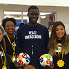 GBH plays in honor of Goal 16: Peace, Justice, and Strong Institutions. The girls pose with Peace Ambassador and Nobel Prize Nominee Victor Ochen.
