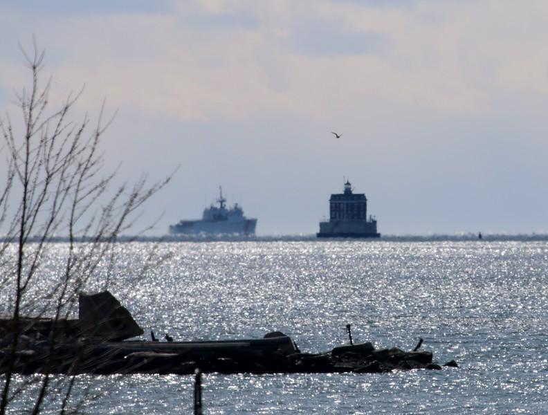 USCGC TAHOMA (WMEC908) near New London Ledge Lighthouse