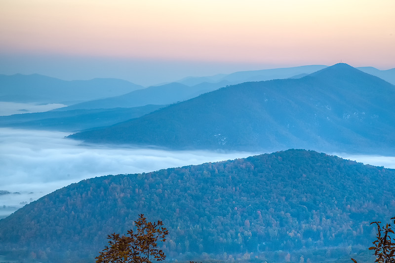 View of Purgatory mountain and James River Fog Early Morning