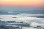 Early Morning Fog Over James River and Town of Buchanan