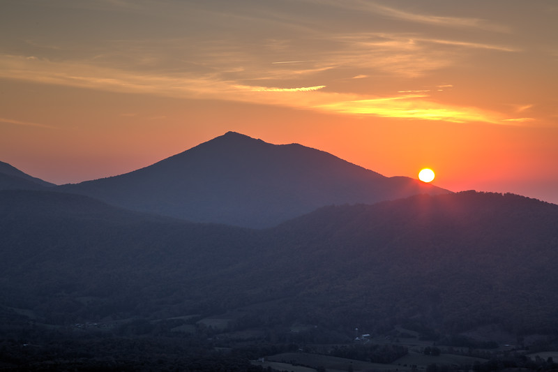 Sunrise on the Peaks of Otter from the Blue Ridge Parkway