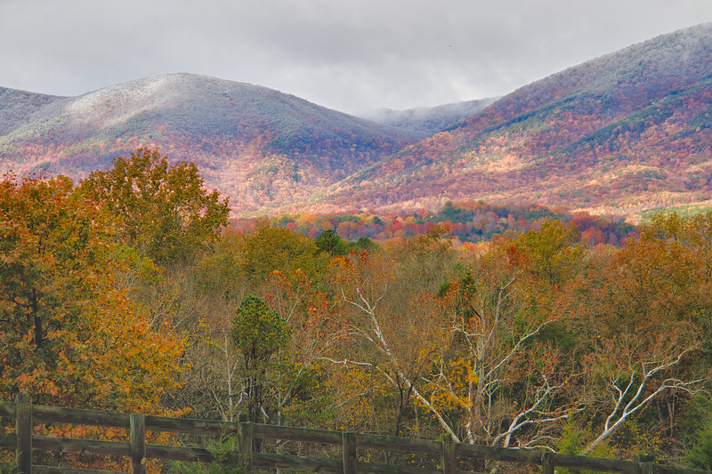 Fall in Stone Coal Gap, Botetourt Co. with Early Ice on the Mountains