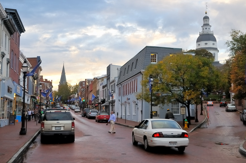 Main Street at sunset - Annapolis, Maryland