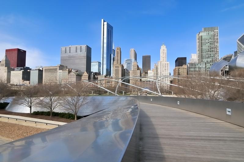 Pedestrian bridge in Millennium  Park - Chicago, Illinois