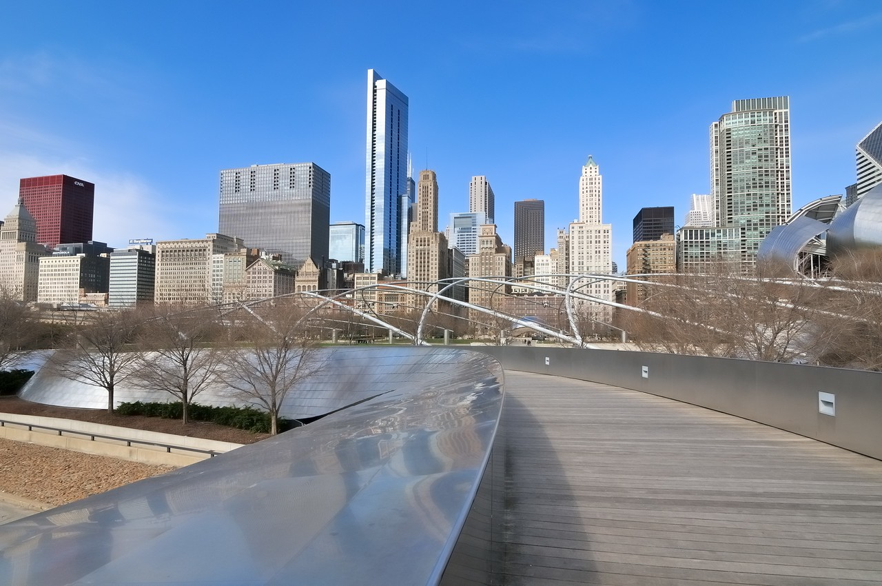 Pedestrian bridge in Millennium  Park - Chicago, Illinois