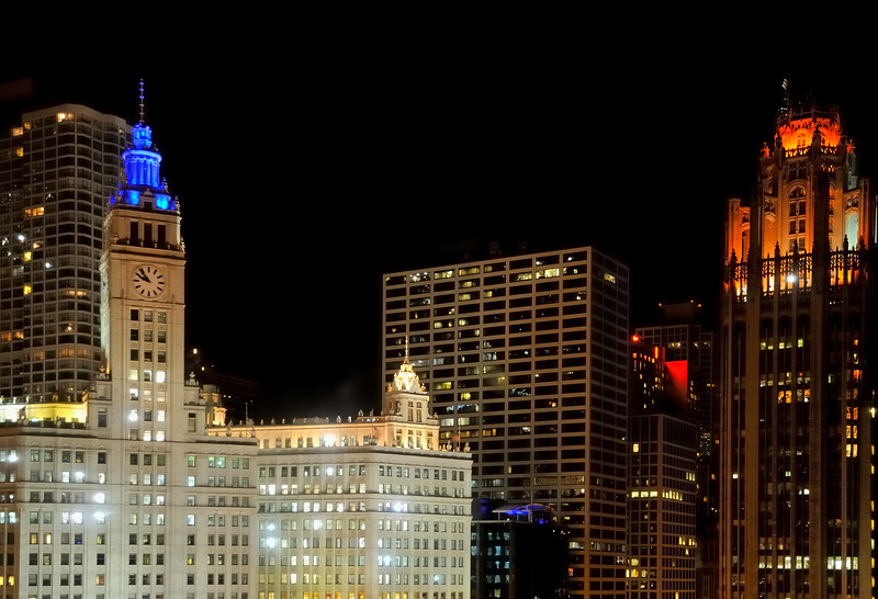 Wrigley Building and Tribune Tower at night - Chicago, Illinois