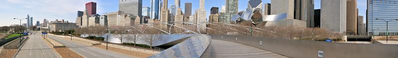 Pedestrian bridge panorama in Millennium  Park - Chicago, Illinois