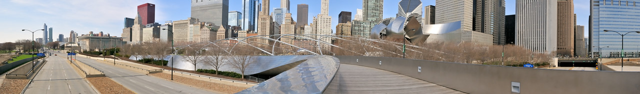 Pedestrian bridge panorama in Millennium  Park - Chicago, Illinois