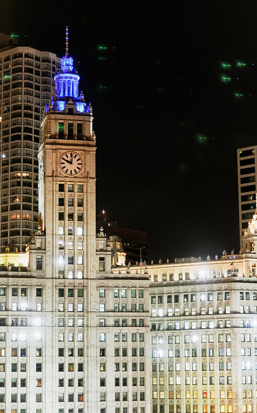 Wrigley Building detail at night - Chicago, Illinois