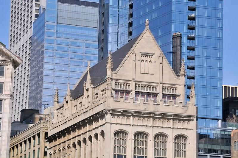 Skyscraper detail on South Michigan Avenue - Chicago, Illinois