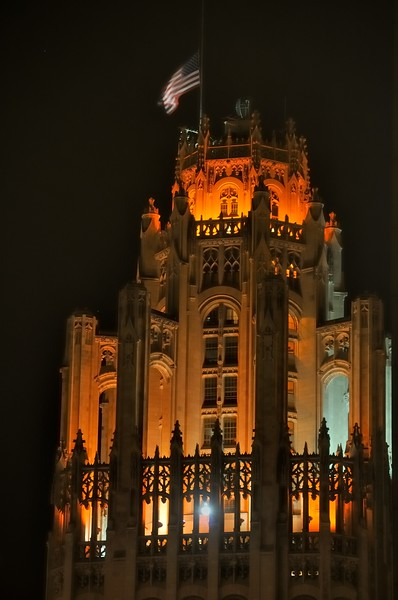 Tribune Tower detail at night - Chicago, Illinois