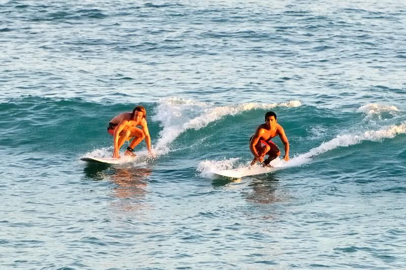 Catching the evening waves at Waikiki