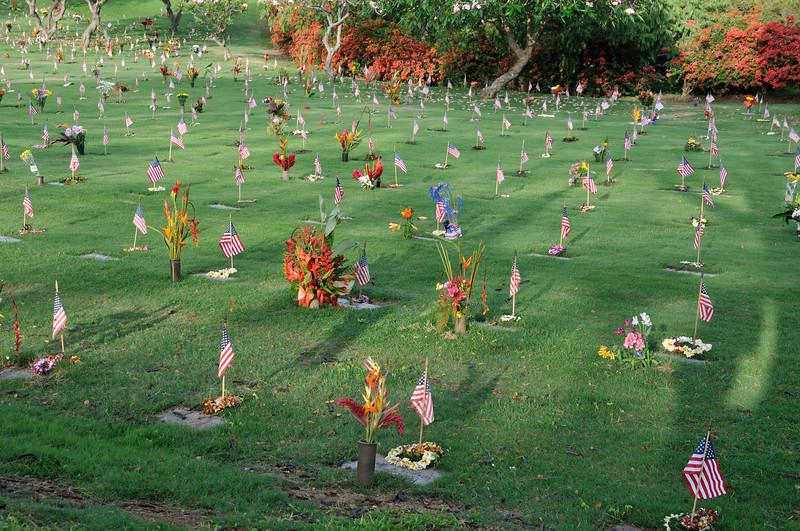 Flags at Punchbowl  Memorial Day  Oahu, Hawaii