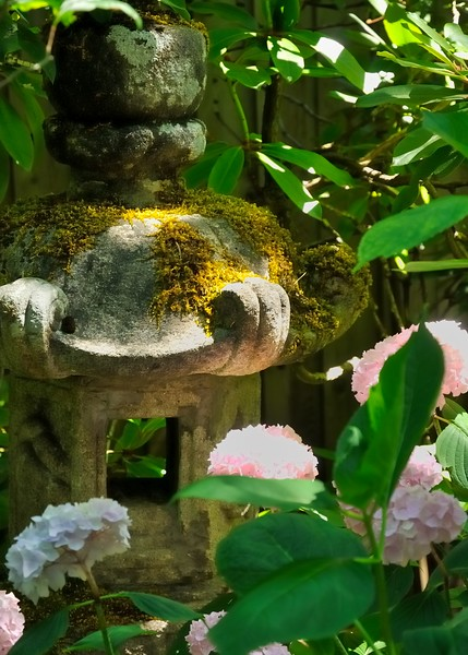 Japanese stone lantern with chrysanthemums
