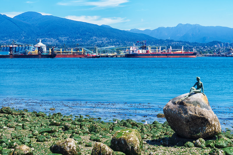 Little mermaid looking towards North Vancouver