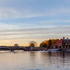Sunset on Charles River and the Weld Boathouse, Harvard University