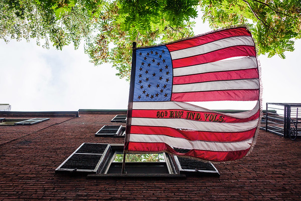 American flag in Acorn Street, Boston