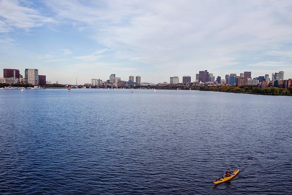 Kayak on Charles River in Boston