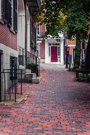 Brick sidewalk in Beacon Hill, Boston