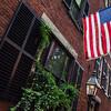 American flag in Acorn Street, Boston