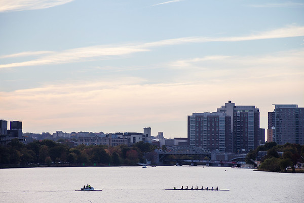 Rowers during a rowing training on Charles River in Boston