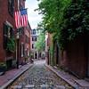 Acorn Street in historic neighborhood Beacon Hill, Boston