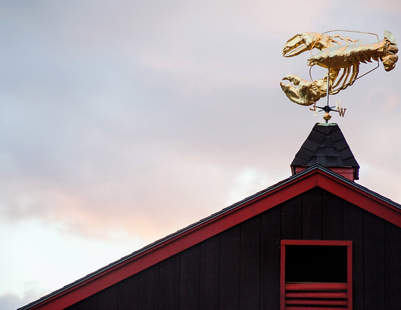 Golden lobster on a building in Boston