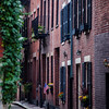 Narrow street in Boston's historic neighborhood, Beacon Hill