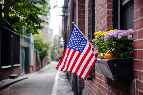American flag in a street of Boston's historic neighborhood, Beacon Hill