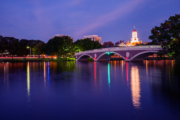 Harvard University and the Charles River by night