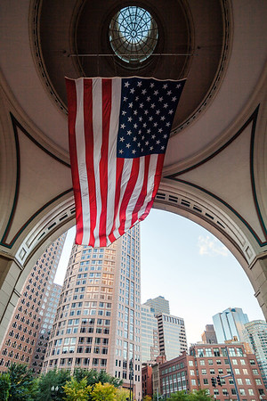 American flag at the Rowes Wharf complex