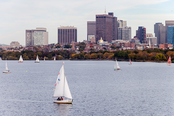 Sailboats on Charles River in Boston
