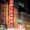 The Chicago Theatre and its illuminated marquee at night